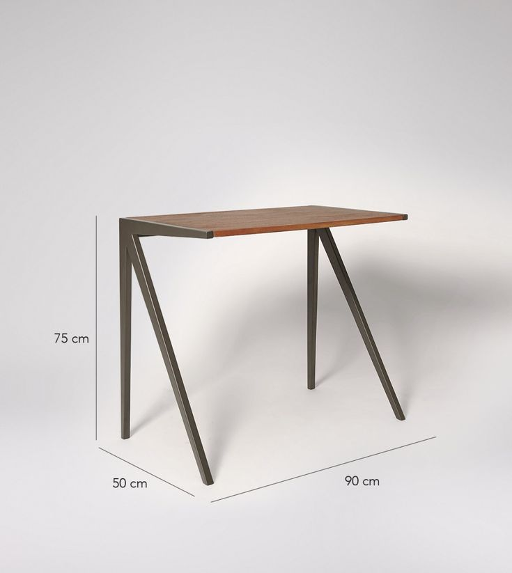 Morris Desk In Dark Mango Wood & Charcoal