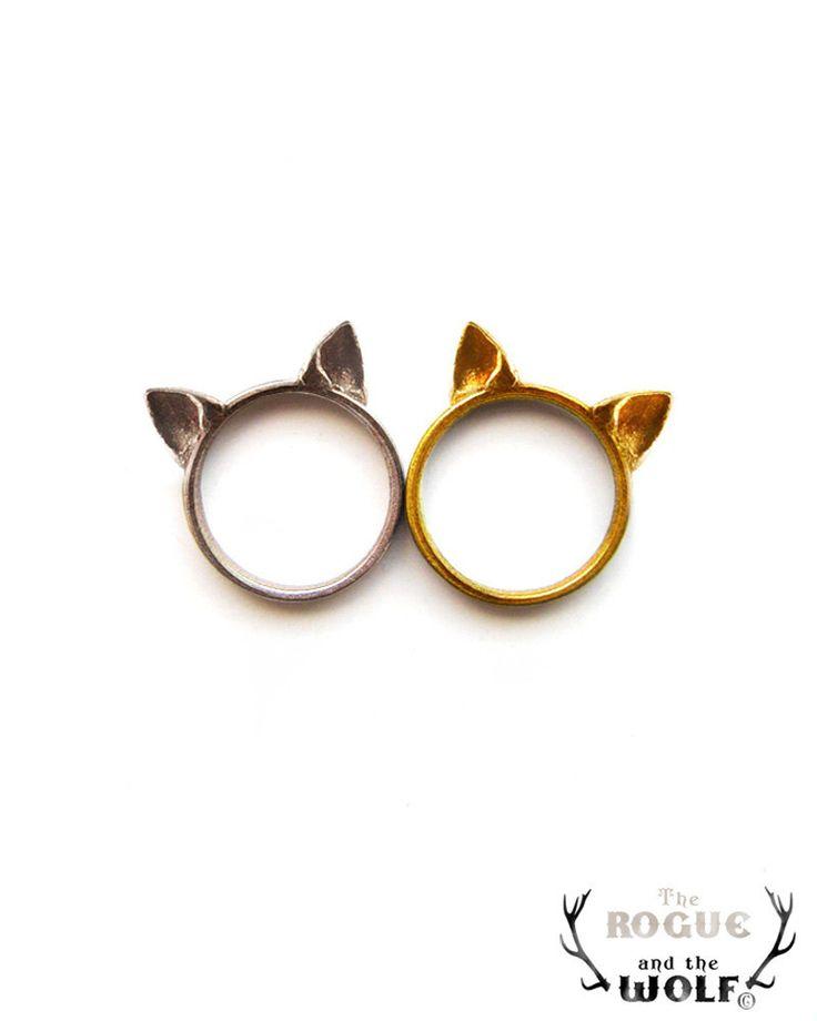 FESTIVE SALE -- Gold Cat Ears Ring, cute kawaii cat ring, Neko ears, animal ring, fashion cool ring, for the feline girlfriend, feline
