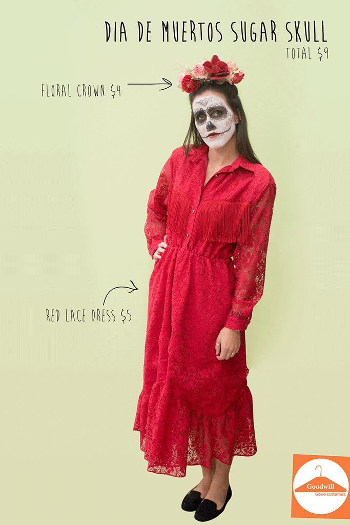 DIY Sugar skull costume with a Goodwill dress and flowers ...