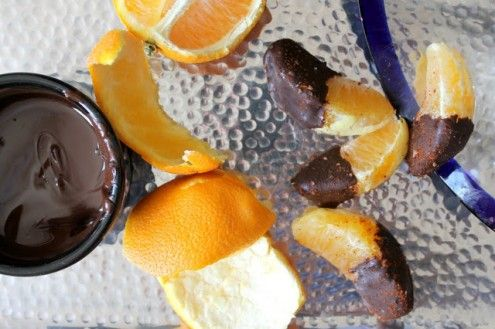Juicy orange segments are dipped in dark chocolate, then sprinkled with a mixture of salt and chili for the perfect combination of sweet, salty, and spicy.