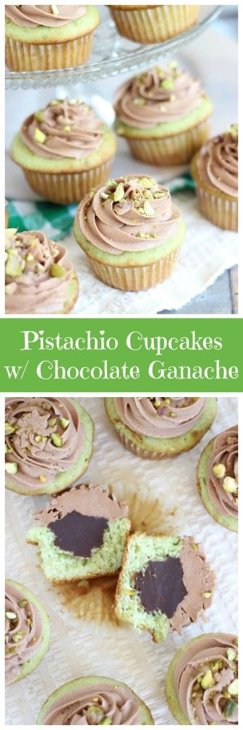 Chocolate-ganache filled cake mix pistachio cupcakes with a homemade chocolate cream cheese buttercream frosting!