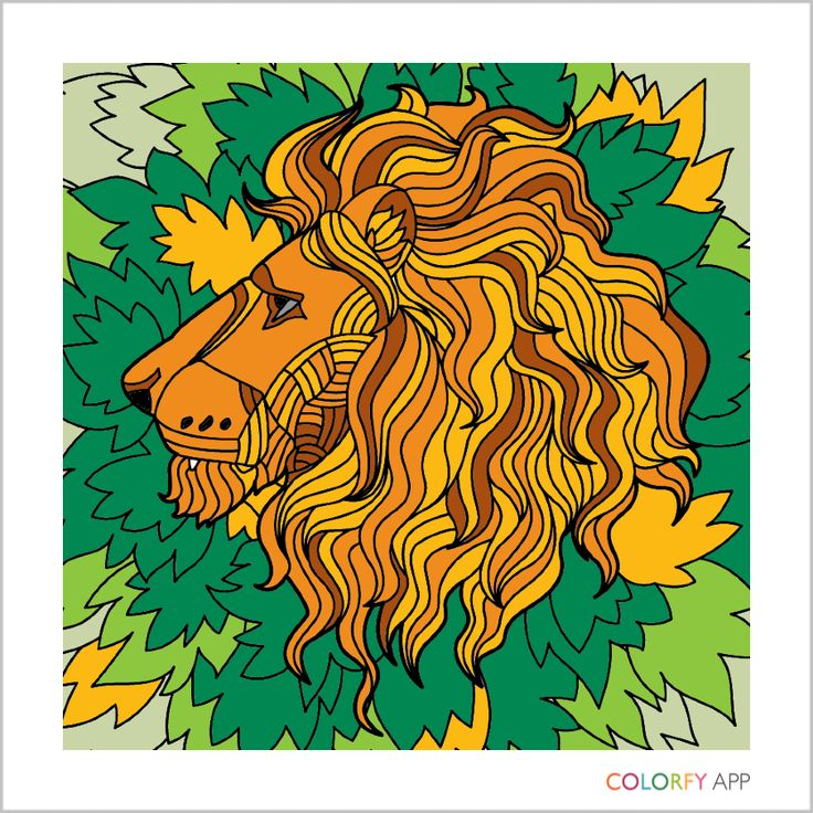Lion from adult coloring book yellow green brown