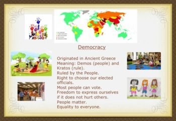Types of Government -- includes democracy, monarchy, oligarchy, theocracy, dictatorship, etc.