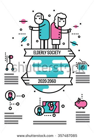 Elderly Society info graphics and icons.flat thin line design elements. vector illustration - stock vector