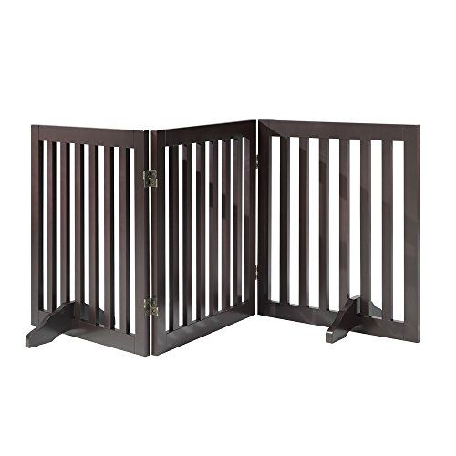 Total Win Freestanding Wooden Pet Gate Dog Fence With 2pcs