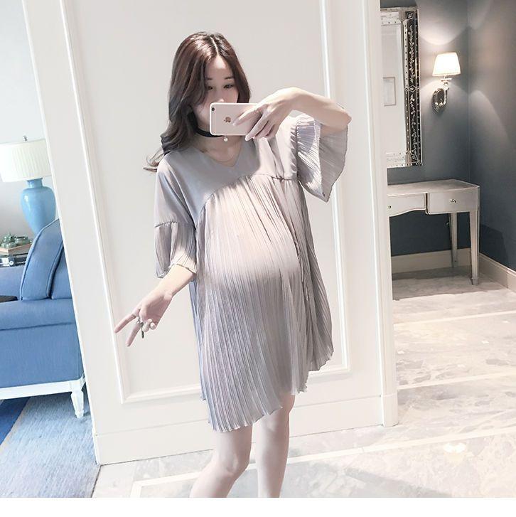 2016 Plus Size Korean Pregnant Women Summer Comfy Maternity Loose Chiffon  Dress 009559ded567