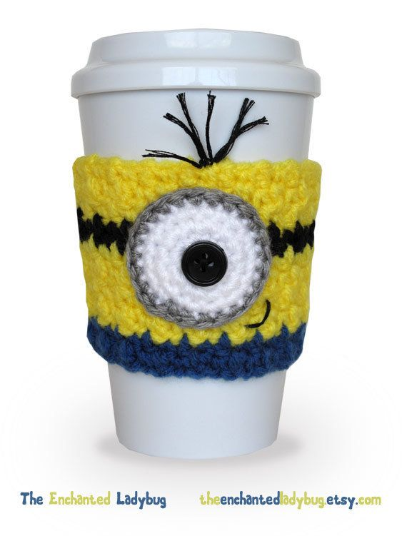 Crocheted Minion Inspired Coffee Cup Cozy. i just bought yellow yarn... i could totally make one of these now lol