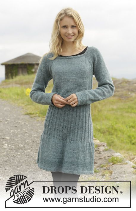 "Angel Falls by DROPS Design Knitted DROPS dress in garter st with rib and raglan, worked top down in ""Karisma"". Size: S - XXXL. Free Pattern"