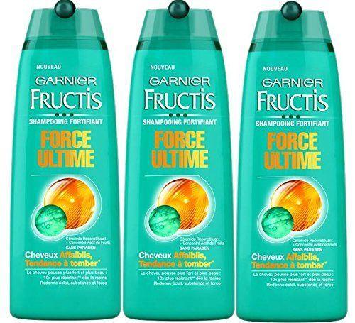 Garnier – Fructis Force Ultime – Shampooing fortifiant Cheveux fragilisés – Lot de 3: Le cheveux pousse plus fort et plus beau. Redonne…