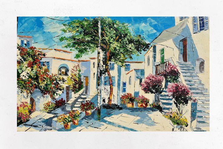 Mikonos pittura su tela, Grecia, decorazione di arte ...