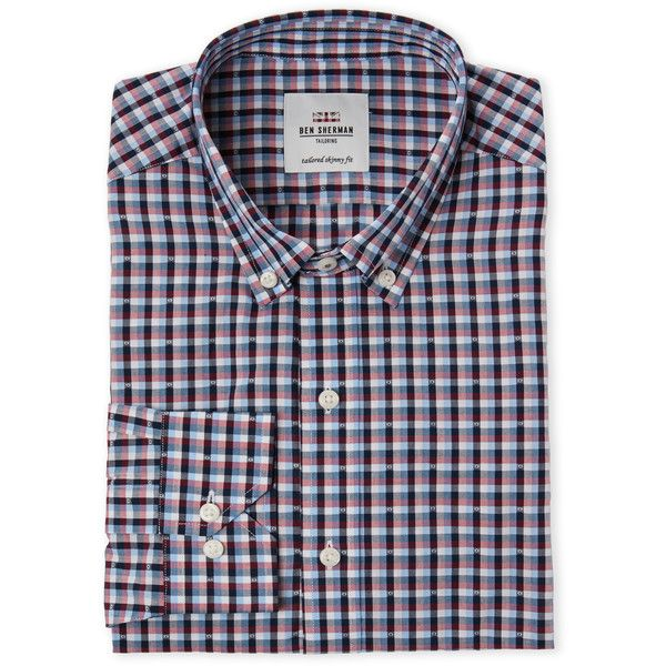 Ben Sherman Red Checkered Tailored Skinny Fit Dress Shirt ($25) ❤ liked on Polyvore featuring men's fashion, men's clothing, men's shirts, men's dress shirts, white, mens checked dress shirts, mens floral dress shirts, mens checked shirts, mens woven shirts and mens floral print dress shirt