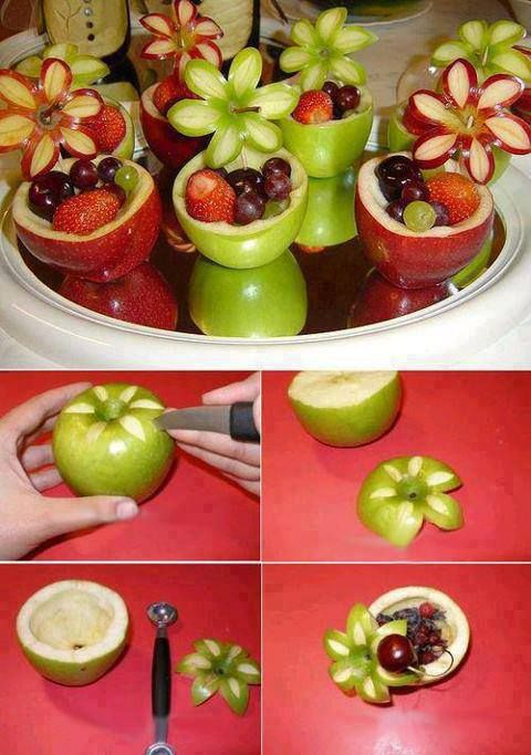 Cute apple fruit cups for a baby shower.  Guess you'd need to spritz the apples with lemon so they wouldn't turn brown...