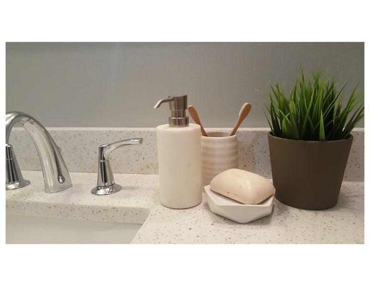 Bathroom Sink Accessories - Soap & Plant