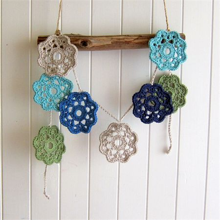 The Mayflower Garland - crochet flower bunting - green, latte, blue