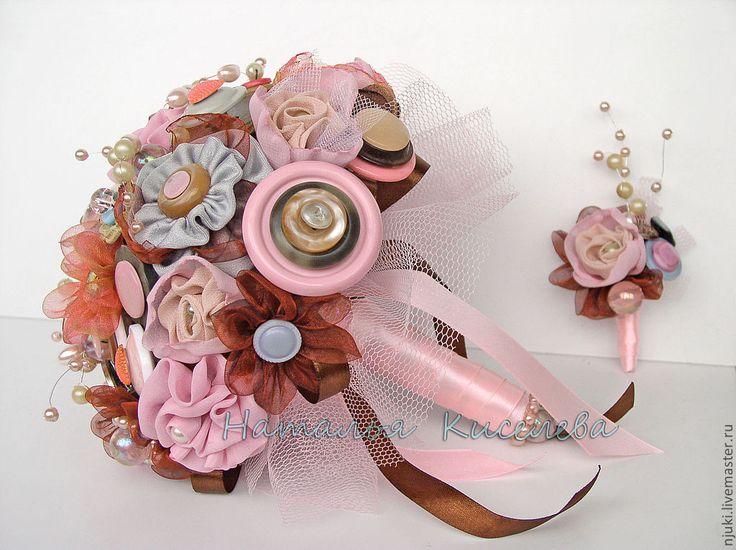 Купить Букет невесты из ткани и пуговиц Розовый Шоколад - розовый, коричневый…