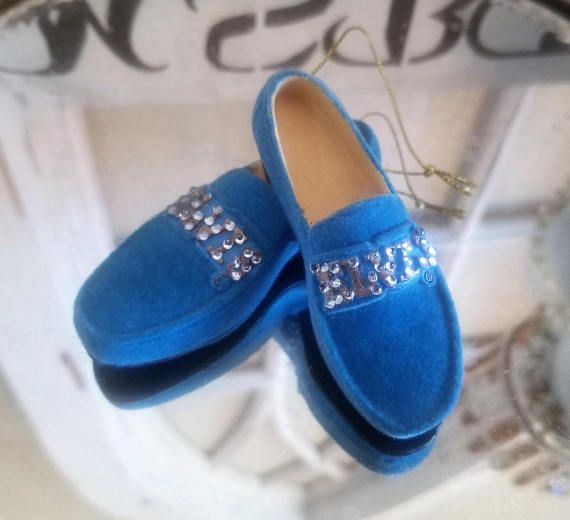 Adorable Elvis BLUE SUEDE SHOES Bling Rhinestone Jeweled