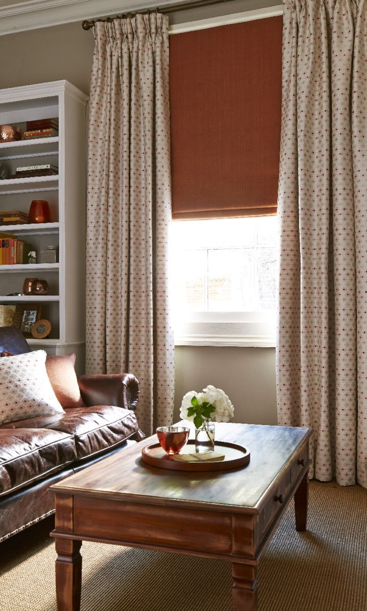 Hillarys and House Beautiful Collection - Daisy Burnt Orange Curtain and Clarence Terracotta roman blind www.hillarys.co.uk/