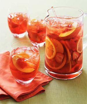1 quart pomegranate juice  2 cups papaya or mango juice (substitute apple if necessary)  1 orange  6-8 strawberries  2 kiwis  1 mango or papaya  1/2 cup sugar  Hint(you can use about any fruit/juice you like)