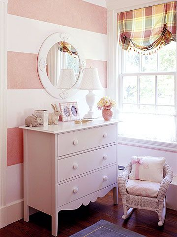 Pink wall stripes, and I really like the shade trim.Ideas, Stripes Wall, Little Girls Room, Kids Room, Dressers, Striped Walls, Big Girls Room, Girl Rooms, Accent Wall