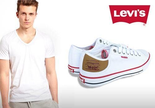 Ανδρικά παπούτσια sneakers της Levis σε λευκό χρώμα από 80€ Μόνο 25€