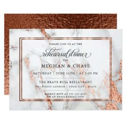 Copper and Marble Wedding Bold Elegance Card - invitations custom unique diy personalize occasions