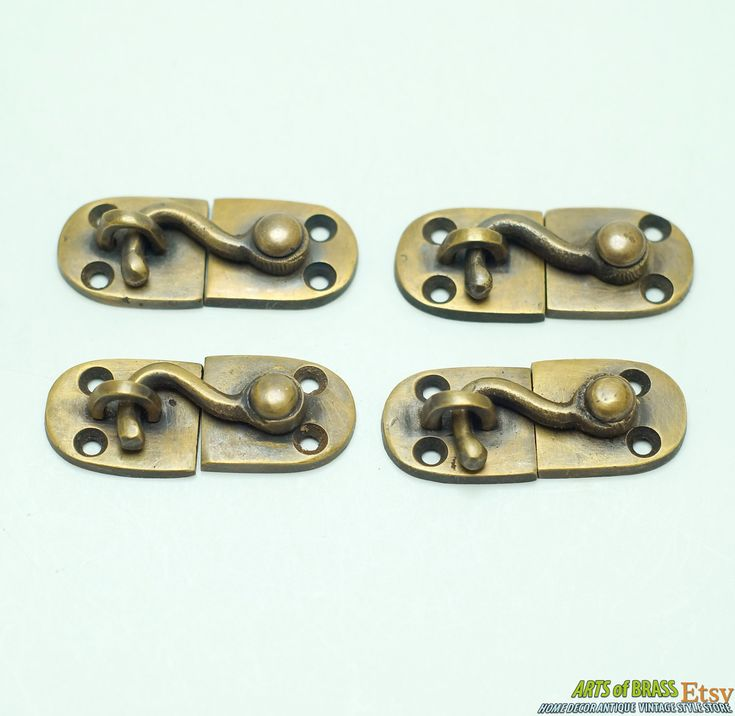 1.96  inches Lot of 4 pcs BOX Drawer Cabinet Door LATCH Joint Hook Antique Vintage Solid Brass Lock & Best 34 Latch Lock Antique Vintage Home Decor ideas on Pinterest ...