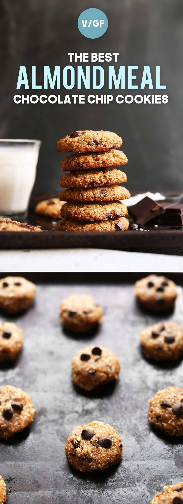 The best almond meal cookies made with 9 ingredients! Crispy on the outside, chewy on the inside, super chocolaty! A delicious vegan, gluten-free dessert!