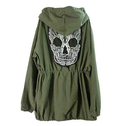 Skull Goth Green Army Jacket - Rebel Style Shop - 1