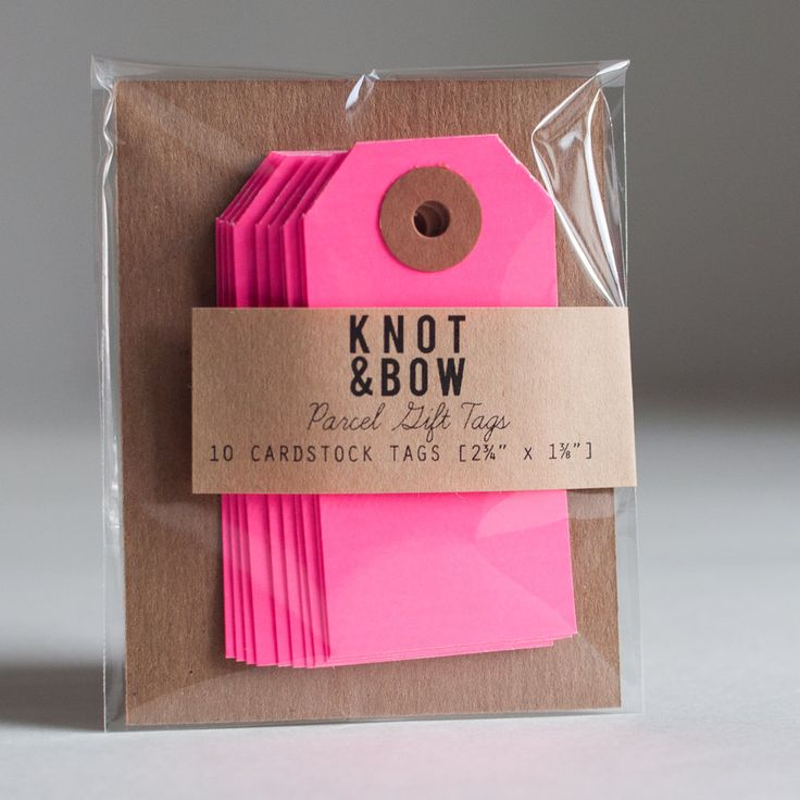 10 Neon Pink Parcel Gift Tags from Knot and Bow