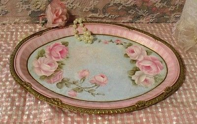 Chic-Aqua-Cottage-HP-Pink-Roses-Tray-Romantic-Shabby-Victorian Shabby Cic Romantic Cottage <3 <3 <3
