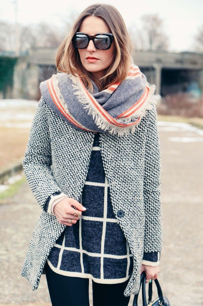 Grid Print Sweater and Houndstooth Coat