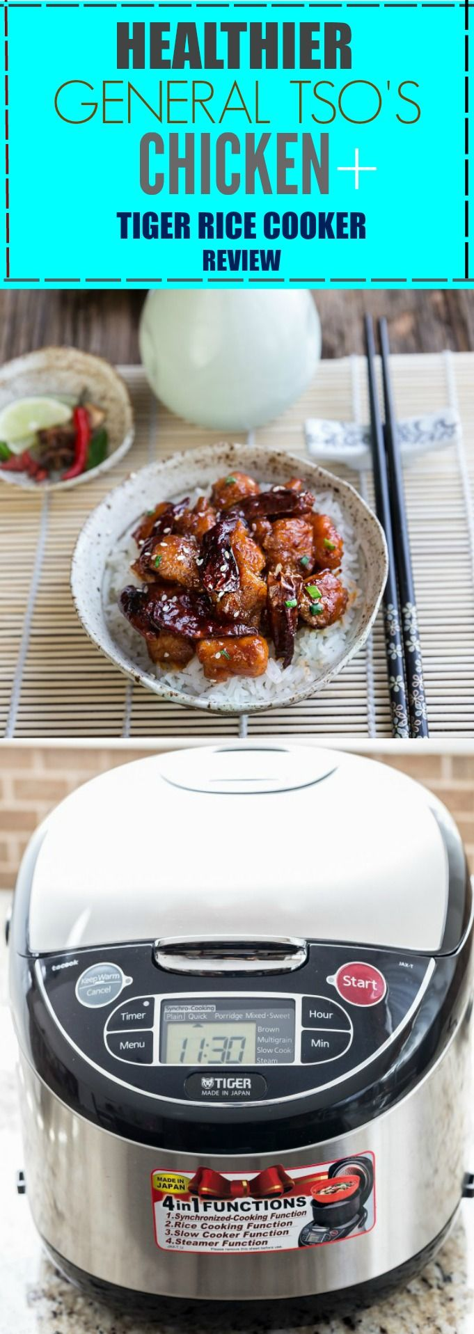 Healthier General Tso's Chicken with Tiger JAX-T18U Rice Cooker & PDU-A50U Electric Water Boiler Review with Video @tigercorp #ad