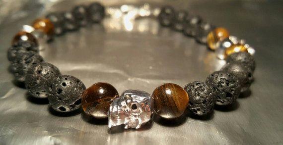 Bracelet homme, oeil du tigre, lava, beads, 8mm, masculin, noir, reflet, crane, skull, argent