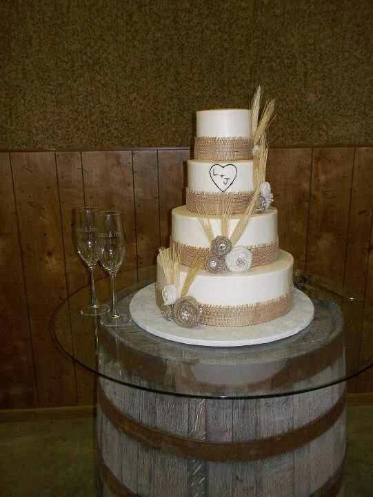 My wedding cake! Burlap ribbon with burlap flowers & wheat! ♥