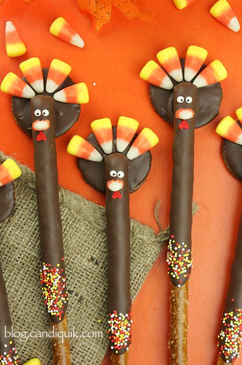 DIY Turkey Pretzels - too cute!