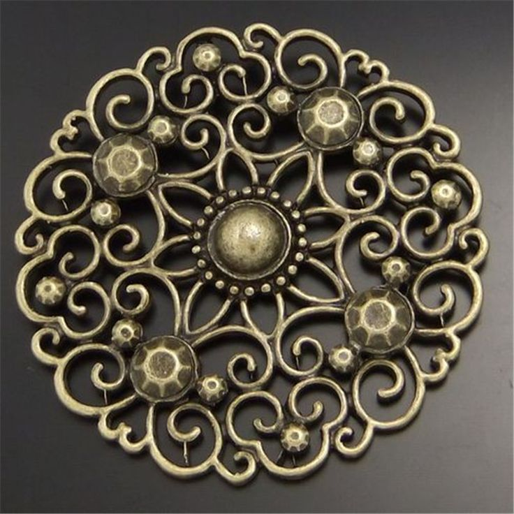 6 PCS Vintage Gaya Perunggu Melihat Perhiasan Putaran SizeableHollow Bunga Charms Pendants 49*49*5 MM 02411