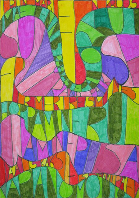 Make squiggle lines, write name repeatedly inside lines, color alternating warm/cool colors or complimentary colors