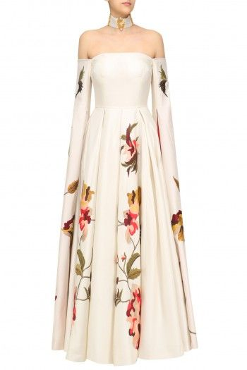 Samant Chauhan Off White Open Sleeves Off Shoulder Gown #happyshopping#shopnow#ppus