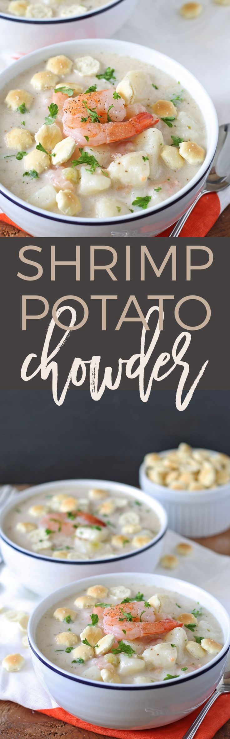 If you're looking for a new winter soup, try this shrimp potato chowder recipe! It's easy to make and delicious - serve it in a bread bowl! | honeyandbirch.com | winter | recipe | recipes | easy | best | favorite | soup | chowder | stew | bread bowl | recipe | recipes | creamy | quick | seafood