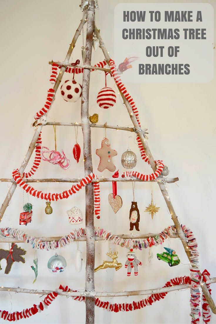 How To Make Your Own Branch Diy Christmas Tree Great For Hanging Ornaments  And A