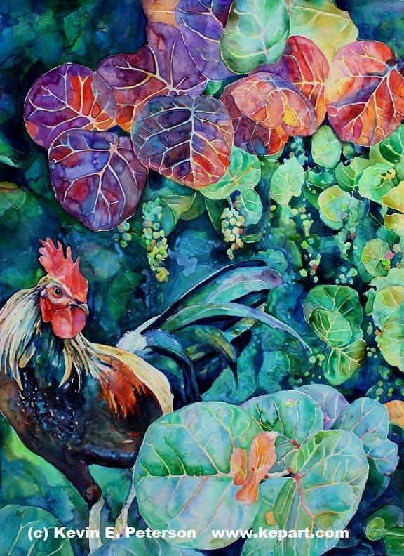 Kevin E Peterson. ---- I like the way the roosters colors are repeated in the leaves in the top third of the painting.