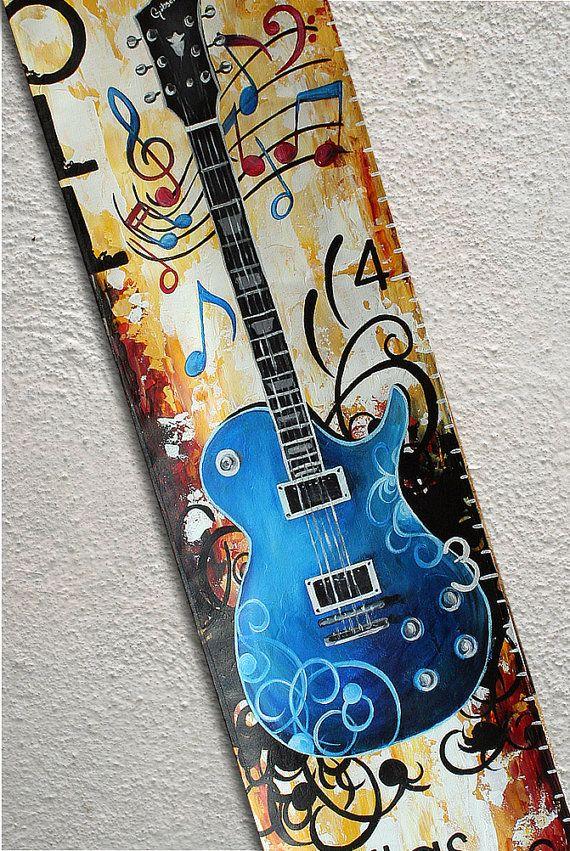 Canvas Growth Chart Custom Guitar Musical by SweetDreamMurals, $70.00