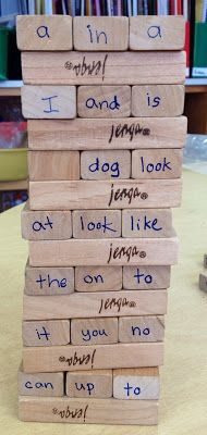 Sight word Jenga. Kids have to read the word before removing the block.