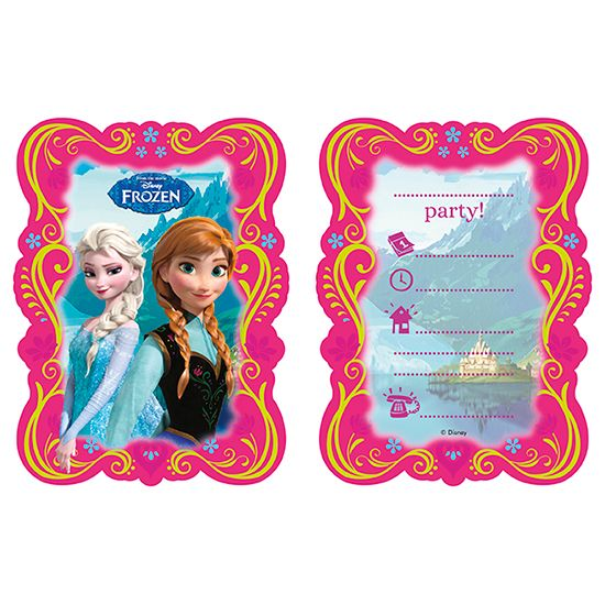 Disney Frozen Theme Invitations with Envelopes – Pack of 6 | Partyrama.co.uk