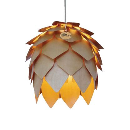 Pinecone Lamp Crimean Wood Pendant Light Replica Lighting consists of layers of thin plywood plates recreate tropical feel @ kitchen lounge or dining room