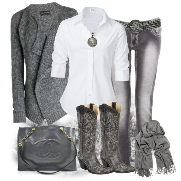 Grey Cowgirl :) however I'd throw a pop of burnt orange or teal in a pair if earrings or necklace or ring! Cute!