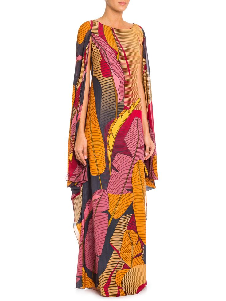 Vestido Campana - Adriana Barra - Laranja e Rosa  - Shop2gether