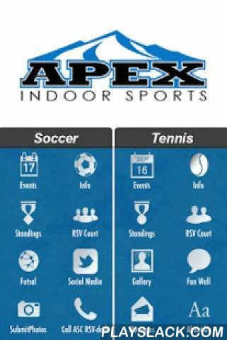 APEX  Android App - playslack.com , Apex Sports Center is the premiere indoor Soccer, Futsal and Tennis facility in Mansfield, Texas. We offer leagues for all ages year round. Apex Sports Center is excited to announce the opening of our new indoor tennis courts. Our new facility is available for court rental as well as league play and tournaments. We will also offer individual and group lessons for men, women, and youth as well as junior camps.This mobile application includes features such…