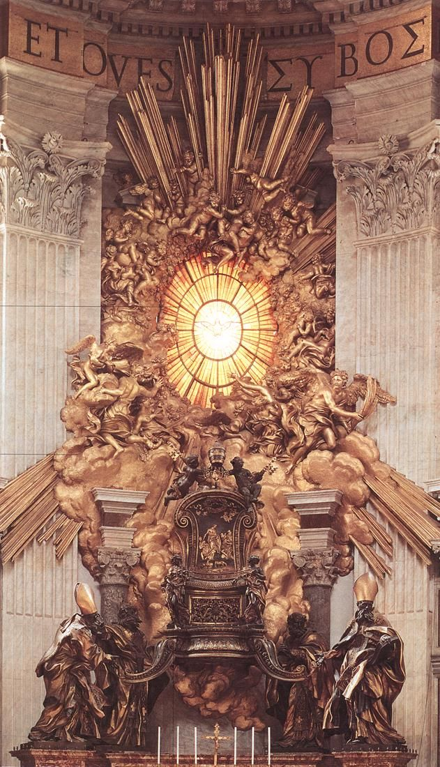 "Gian Lorenzo Bernini sculptures in St. Peter's, Vatican, Italy, including the spiral bronze Alter & this throne of St. Peter. This alabaster window was the photo on our 1st Christmas card!  Bernini also created the ""Fountain of the Four Rivers"" in Piazza Navona, Rome."