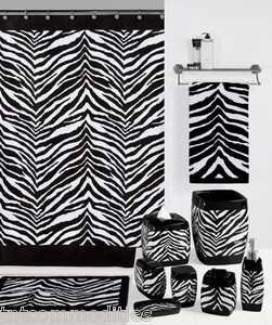 Safari Black & White Zebra Print Bath Accessories Bathroom Collection ~ Choice